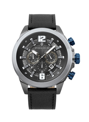 Police Klevan Analog Leather Watch For Men, Water Resistant with Chronograph, Black, P 15655JSU-02