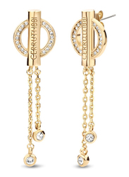 Cerruti 1881 Gold Plated Stainless Steel Dangle Earrings for Women with Diamond Stone, Gold