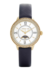 Cerruti 1881 Rosara Analog Watch for Women with Leather Band, Water Resistant, C CRWM225, Blue-White
