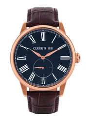Cerruti 1881 Albiano Analog Watch for Men with Leather Band, Water Resistant, C CRWA263, Brown-Dark Blue