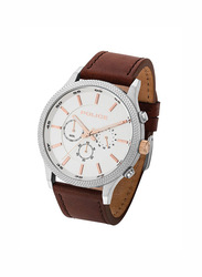 Police Pace Analog Leather Watch for Men, Water Resistant with Chronograph, Brown-Silver, P 15002JS-04