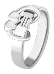 Cerruti 1881 Stainless Steel CRR Logo Bow Fashion Ring for Women, Silver, EU 54