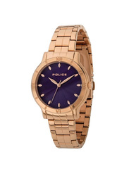 Police Hazel Analog Stainless Steel Watch For Women Water Resistant, Rose Gold-Purple, P 14986BSR-15M