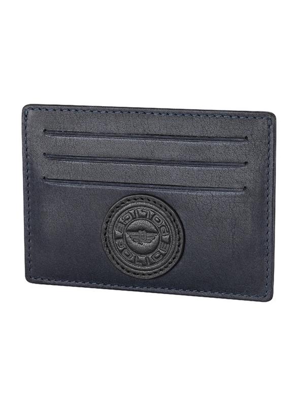Police Carve Leather Card Holder for Men, PA40129WLBL, Blue