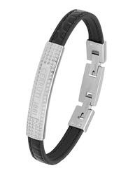 Cerruti 1881 Leather Ion Bracelet for Men, Silver & Black