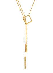 Cerruti 1881 Gold Plated Stainless Steel One Side Double Chain Y Necklace for Women, Gold