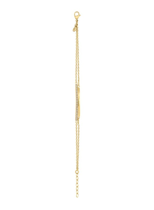 Cerruti 1881 Gold Plated Stainless Steel Chain Bracelet for Women with Swarovski Stone and Full Logo Detail, Gold
