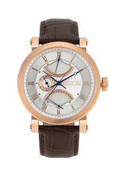 Cerruti 1881 Cavalese Leather Watch for Men, Water Resistant , Dark Brown-Silver, C CRWA24601
