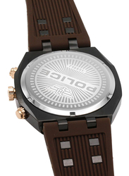 Police Kediri Analog Watch for Men with Silicone Band, Water Resistant with Chronograph, P 15995JSBR-61P, Brown-Gunmetal