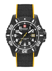 Swiss Military Hanowa Black Carbon Analog Watch for Men with Silicone Band, Water Resistant, W S6-4309.17.007.79, Black