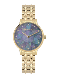 Police Chapada Analog Watch for Women with Stainless Steel Band, Water Resistant, P 15700LS, Gold-Blue