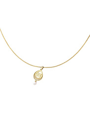 Escada Stainless Steel Pendant Necklace with Pearl - Imitation Stone for Women, Gold
