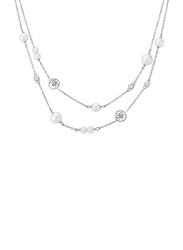 Cerruti 1881 Stainless Steel Multi-Strand/Chain Necklace with Pearl - Imitation Stone for Women, Silver