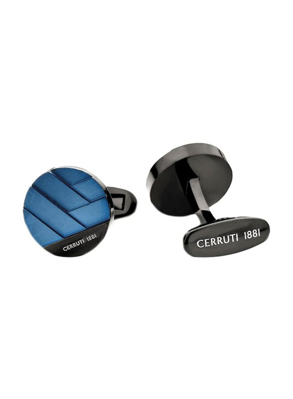 Cerruti 1881 Mens Cufflinks, Stainless Steel, with Polished and Brushed Finish Steel Plate, Blue/Black