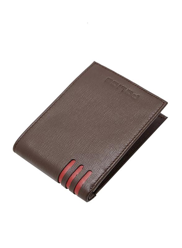 Police Cross Hatch Leather Bi-Fold Wallet for Men, PA40048WLBR, Brown