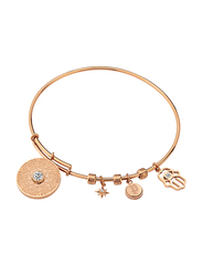Police Bijou Rose Gold Plated Stainless Steel Bangle Bracelet for Women with All Moveable Charms, Rose Gold