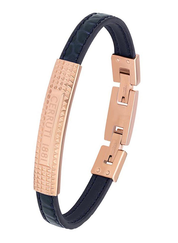 Cerruti 1881 Leather Ion Bracelet for Men, Black & Rose Gold