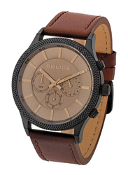 Police Pace Analog Watch for Men with Leather Band, Water Resistant with Chronograph, P 15002JSU-13, Brown