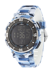 Timberland Cadion Quartz Digital Watch for Men with Rubber Band, Water Resistant, T TBL13554JPBL-02, Blue Camouflage-Black