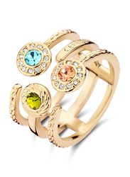 Cerruti 1881 Gold Plated Stainless Steel Stacking Ring for Women with Tri Color Stones, Gold, EU 54