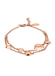 Police Rose Gold Plated Stainless Steel Multi-Strand Bracelet for Women with Stone, Rose Gold