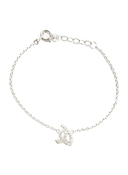 Agatha Sterling Silver Chain Bracelet for Women with Cubic Zirconia Stone and Arabic Letter HA Charm, Silver