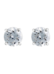 Agatha Sterling Silver Claw Stud Earrings for Women with 7mm Cubic Zirconia Stone, Silver