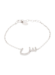 Agatha Sterling Silver Chain Bracelet for Women with Cubic Zirconia Stone and Arabic Letter SI Charm, Silver