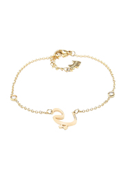 Agatha Sterling Silver Chain Bracelet for Women with Cubic Zirconia Stone and Arabic Letter Y Charm, Gold