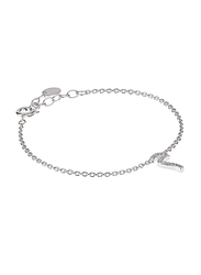 Agatha Sterling Silver Chain Bracelet for Women with Cubic Zirconia Stone and Arabic Letter M Charm, Silver