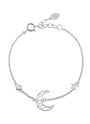 Agatha Sterling Silver Chain Bracelet for Women with Cubic Zirconia Stone and Moon Star Charm, Silver