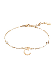 Agatha Sterling Silver Chain Bracelet for Women with Cubic Zirconia Stone and Arabic Letter J Charm, Gold