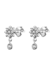 Agatha Bras Paved Star Hoop Earrings for Women with Cubic Zirconia Stone, Silver