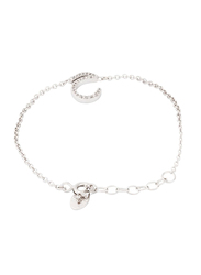 Agatha Sterling Silver Chain Bracelet for Women with Cubic Zirconia Stone and Arabic Letter H Charm, Silver