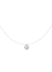 Agatha Sterling Silver Necklace for Women with Transparent Thread and Cubic Zirconia Stone Pendant, Silver