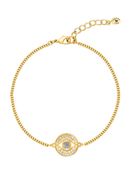 Agatha Brass Chain Bracelet for Women with Cubic Zirconia Stone and Paved Eye Medal Charm, Gold