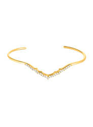 Agatha Brass Paved V Rigid Cuff Bracelet for Women with Cubic Zirconia Stone, Gold