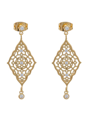 Agatha Bras Paved Arabesk Diamond Shape Dangle Earrings for Women with Cubic Zirconia Stone, Gold