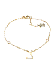 Agatha Sterling Silver Chain Bracelet for Women with Cubic Zirconia Stone and Arabic Letter D Charm, Gold