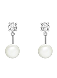 Agatha Stainles Steel Dangle Earrings for Women with Round Pearl and Cubic Zirconia Stons, Silver