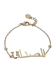Agatha Sterling Silver Chain Bracelet for Women with Cubic Zirconia Stone and Arabic Word Frienship, Gold