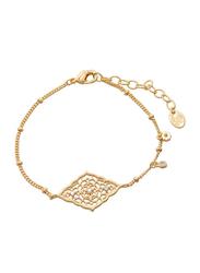 Agatha Brass Arabesk Diamond Shape Chain Bracelet for Women with Cubic Zirconia Stone, Gold