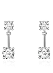 Agatha Stainles Steel Dangle Earrings for Women with 2 Cubic Zirconia Stons, Silver