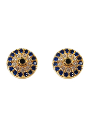 Agatha Brass Stud Earrings for Women with Paved Turkish Eye and Cubic Zirconia Stone, Blue/Gold
