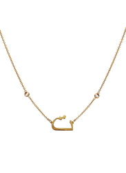 Agatha Stainless Steel Necklace for Women with Cubic Zirconia Stone and Arabic Letter T Pendant, Gold