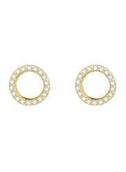 Agatha Bras Hallowed Paved Round Earrings for Women with Cubic Zirconia Stone, Gold