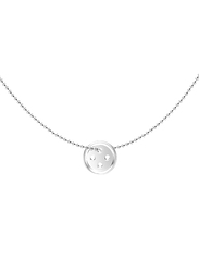 Agatha Sterling Silver Necklace for Women with Round Button Pendant, Silver