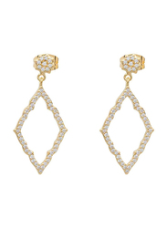 Agatha Bras Paved Diamond Shape Dangle Earrings for Women with Cubic Zirconia Stone, Gold