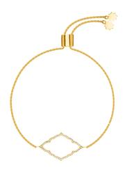 Agatha Brass Diamond Shape Chain Bracelet for Women with Cubic Zirconia Stone, Gold