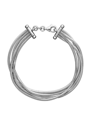 Agatha Stainless Steel 4 Rows Snake Multi-Chain Bracelet for Women, Silver